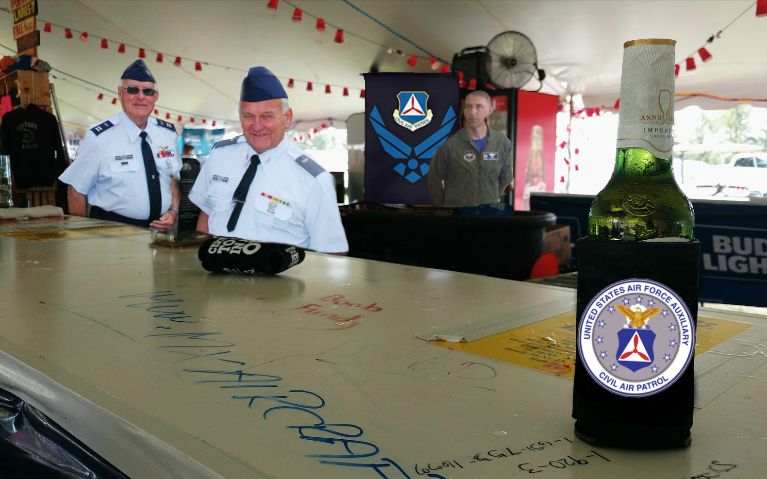 EAA Airventure Oshkosh SOS Tent bikini ladies replaced with Civil Air Patrol at the bar. OSH is an annual aviation event hosted for pilots and with airshows.