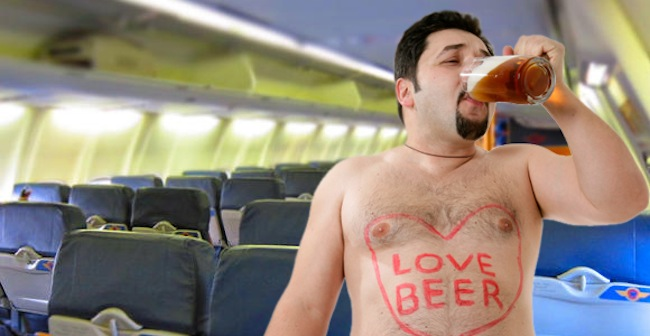 Beer pilot in airplane