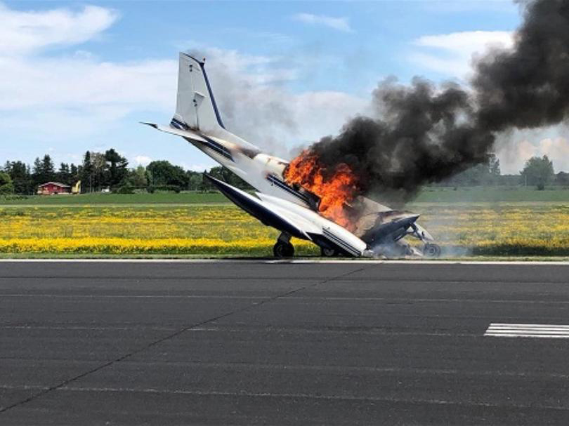 Airplane runway crash at local airport, twin engine