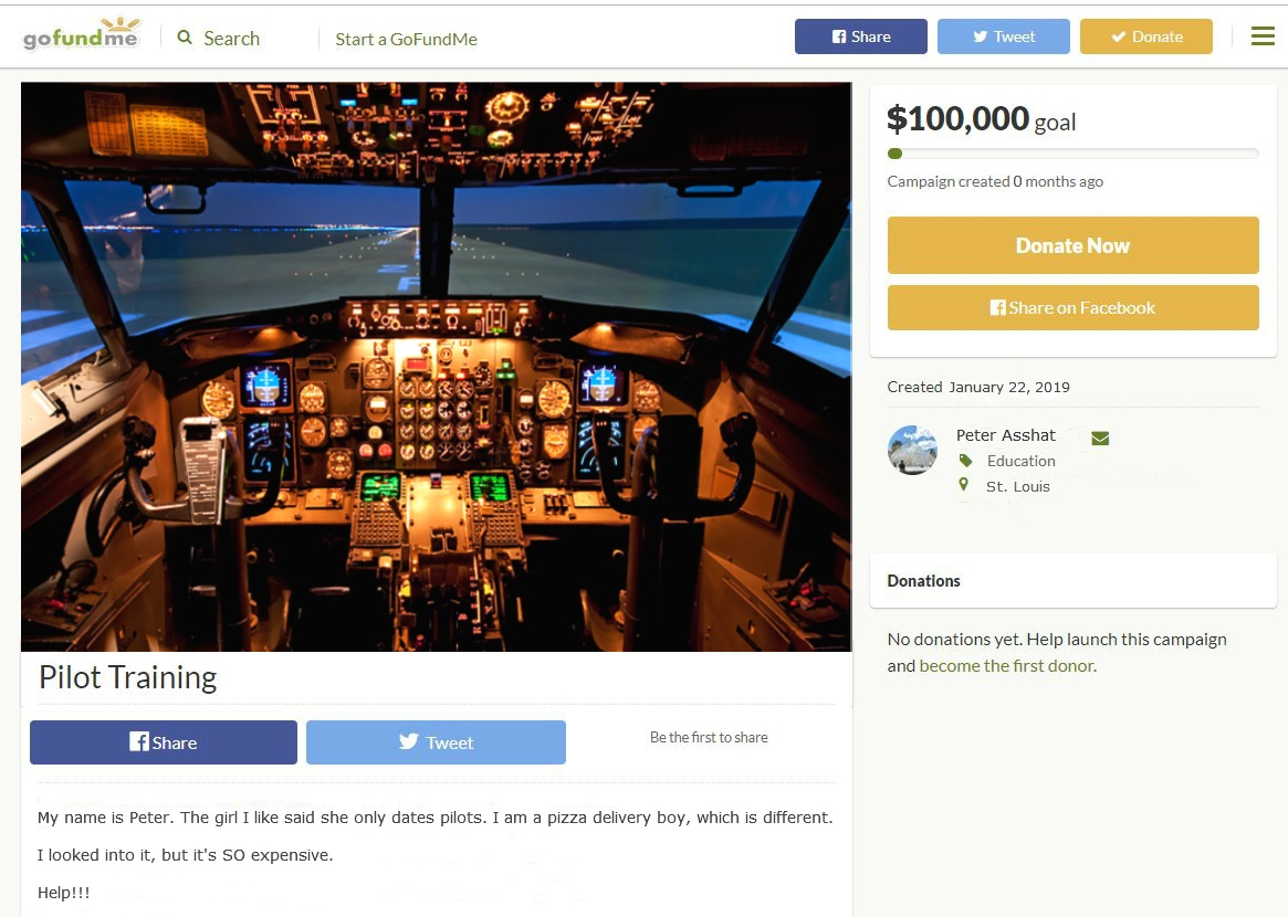 GoFundMe for flight school, pilot training and pilot certificate. For cool aviation avgeeks