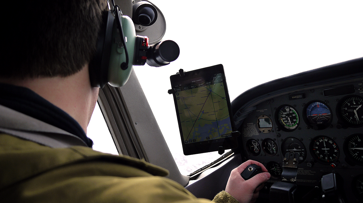 Lost pilot using foreflight to navigate airplane gets lost. Civil Air Patrol Cessnas respond to find the pilot, wearing David Clark headsets in his airplane.