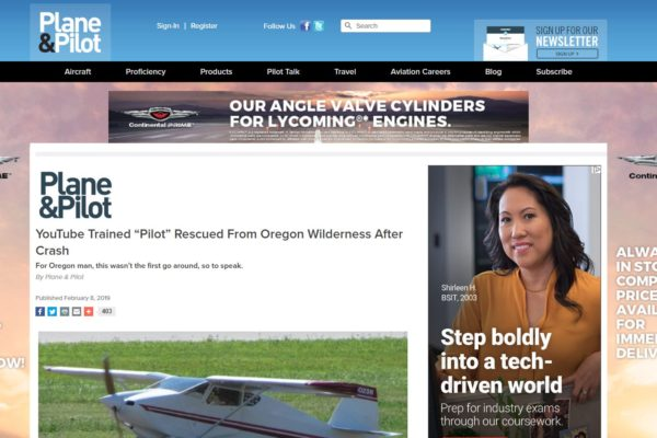 Plane & Pilot magazine copies AviationDaily.News YoutubeTrained Pilot in Oregon rescued by Civil Air Patrol. FAA & NTSB investigates.