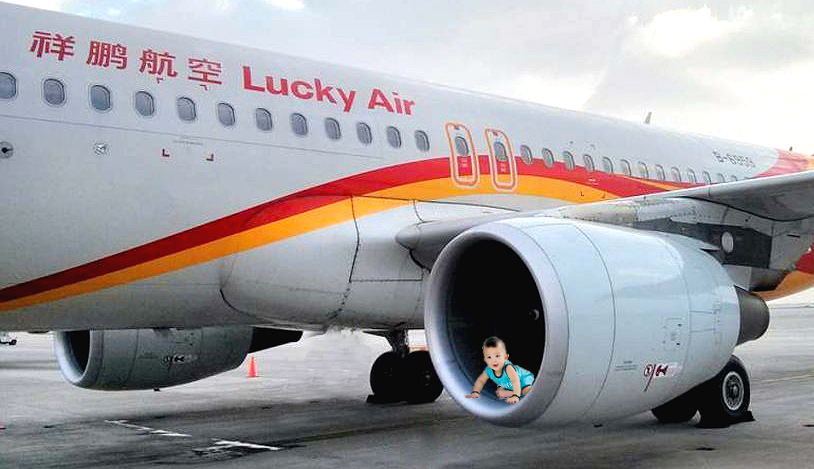 Lucky air flight delayed after lucky coins not thrown, but instead lucky first born into airline's airplane engine. Coins should not be thrown into engines for good luck. Children shouldn't be either.