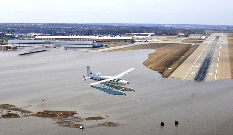 Airport runways are underwater from flooding in Nebraska, forcing pilots to get seaplane ratings if they want to fly from the flooded airports.